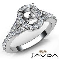0.5Ct Halo U Cut Prong Diamond Engagement 14k White Gold Ring Cushion Semi Mount