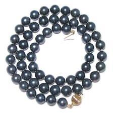 "17.5"" AAA+ 7-7.5mm Japanese Salt Water Akoya Black Pearl Strand Necklace"