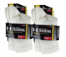 Under Armour Training Socks White 8 Pairs Total Children Youth size Large 1-4