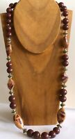 Vintage Brown Graduated Lucite Bead & Gold Tone Spacer Necklace 30""