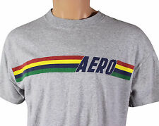 VTG 90s AEROPOSTALE Aerographic T-SHIRT Medium Heather Gray Made In USA! Preppy