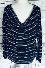 Apt 9 Women's Large Sweater Lightweight Striped Glittered Draped U Neck Soft