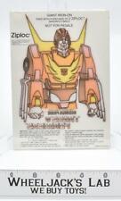 Iron-On Rodimus Prime Premium 1986 Ziploc G1 Transformers Vintage The Movie