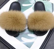 Women's Sliders Luxury Real Fox Fur Indoor Outdoor Slides Slippers Sandals Shoe