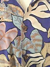 Island Traditions XL Hawaiian Aloha Friday Shirt Blues/Taupes Foliage