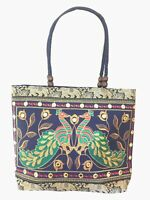 Fair Trade Ethnic Embroidery Shoulder Bag Large Peacock Handbag Tote Hippy