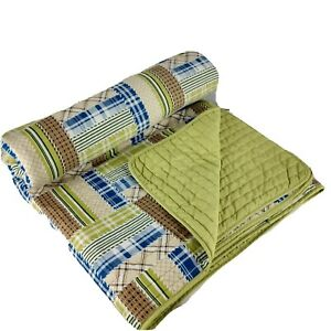 Patchwork Twin Reversible Quilt 86 x 86 Beadspread Green Blue Cotton Reversible