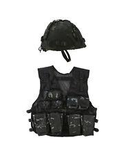 Kids BLACK BTP Camouflage Assault PLAY Vest and Helmet Set  Childrens Army SAS
