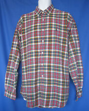 Ralph Lauren Polo Shirt Size XL 100% Cotton Madras Plaid Embroidered