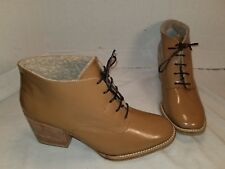 NEW ANTHROPOLOGIE RACHEL COMEY IBEX BEIGE PATENT LEATHER BOOTIES ANKLE BOOTS 8