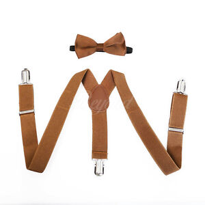 Brown Suspender and Bow Tie Set for Baby Toddler Kids Boys Girls (USA Seller)