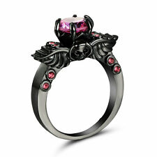Size 9 Black plated Round Cut Topaz Wedding Engagement Ring Christmas Gift Wife