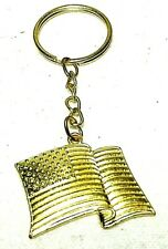 Collectible Keychain: Gold Tone American Flag Design
