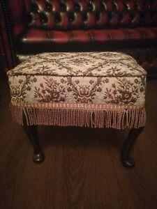 Vintage Padded Floral  & Fringe  Queen Anne Footstool