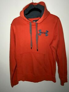 Under Armour UA Storm Loose Pull Over Hoodie Mens Small Orange Sweater