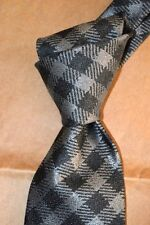 """$250 NWOT TOM FORD Charcoal gingham check men's 3.75"""" woven Silk tie Italy"""