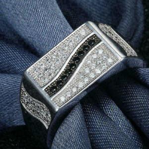 Modernist Engagement & Wedding Men's Ring 2.28 Ct Round Diamond 14K White Gold