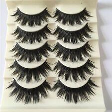 5 Pairs Thick Cross False Eyelashes Eye Lash Extensions Black Long 3D Natural