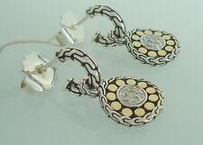 John Hardy Dot 18k Gold Silver Diamond Drop Small Hoop Earrings 8grms