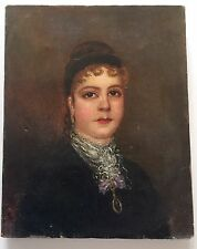 1880's Antique Oil Painting Victorian Lady Large Brown Eyes, Lace Collar Jewelry