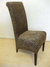 6 ANIMAL PRINT DINING CHAIR SET BLACK / GOLD BROWN  LIKE EX NEXT FABRIC WOOD NEW
