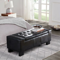 "NEW 51"" Elegant Black Faux Leather Solid Rectangular Large Storage Ottoman Bench"