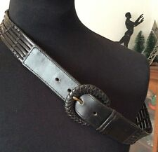 "vintage M&S black woven leather 1.5"" wide belt ~ M/L 28-32"""