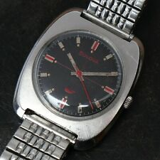 1969 M9 Vintage BULOVA Manual Wind Cross Hair Red Accent Stainless Watch Runs