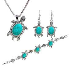 Women Tortoise Silver Turquoise Necklace +2pcs Earring +Bracelet Jewelry Set New