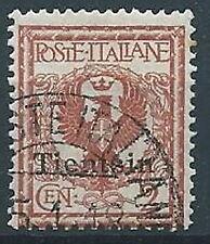 1917-18 UFFICIO POSTALI IN CINA TIENTSIN USATO AQUILA 2 CENT - W007
