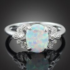 STUNNING 925 Sterling Silver White Fire Opal Princess Cut Solitaire Ring Size 7