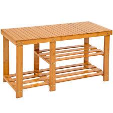 Holz Schuhregal mit Sitzbank Hocker Schuh Bambus Regal Schuhschrank Schuhständer