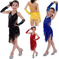 KIDs Girls Deco Gatsby 1920s Sequins Vintage Fringe Sway Flapper Halter Dress