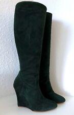 Ralph Lauren Collection Stiefel 39 Grün Veloursleder Keilabsatz Wedges Boots 9