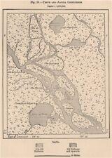 Rio Tefé(Teffe)and Japura/Caquetá River confluence.Brazil.Amazonia 1885 map