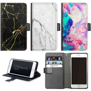 Hairyworm Grey Black Marble PU Leather Wallet Phone Case, Flip Case, Phone Cover
