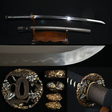 Clay Tempered SHINOGI-ZUKURI Blade Lion TSUBA JAPANESE SAMURAI SWORD KATANA