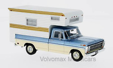wonderful modelcar FORD F-100 PICK-UP CAMPER 1968 - bluemetallic/beige - 1/43