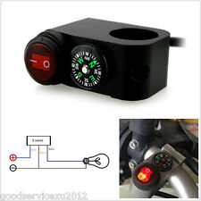 Multifunction 12V 16A Motorcycle Handlebar LED Fog Light Switch ON-OFF & Compass