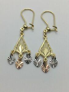 New 14 k Multi color gold Fancy Hanging Chandelier Earring  Women Gift 1.75''