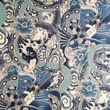 Alexander Henry Fabric Zen Charmer Tea/Indigo PER METRE Flower Goth Snake Skull