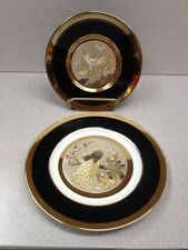 """Keito Japan 8 3/4"""" gold plated plate and The Art Of Chokin Peacock Plate 24k"""