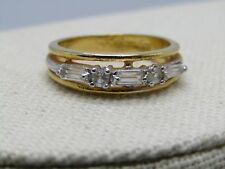 Baguette Clear Stone Ring/Band, 18GEP, Gold Tone, Size 8, 6.2mm wide, Signed A