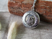 Picture Locket Pendant Necklace Cameo Owl Silver Tone Handmade Necklace