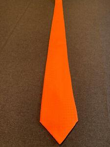 Hermes Krawatte Cravate Tie mit H-Muster (orange)