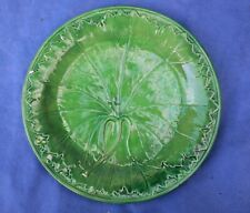 3. Green Majolica Plate Antique decorated with Vine leaf . Excellent cond