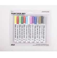 Paint Pen Marker Set Of 14 Colors Fine Gold Silver Black White Yellow Red Green