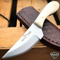 "4.75"" Hunting Fixed Blade Full Tang Skinning Neck Knife Bone + Leather Sheath"