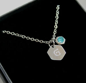 ENGRAVED Initial Necklace Pink Blue Clear Rhinestone Charm Personalised Gifts