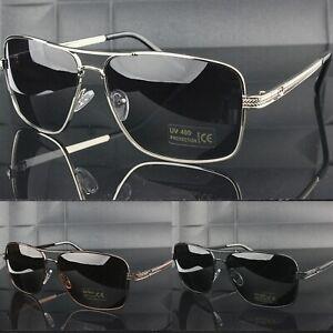 Polarised Sunglasses Rectangular Metal Frame UV400 Mens Polarized